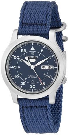 ... SNK807K2 Men's Blue Nylon Fabric Band Military Automatic Watch | eBay