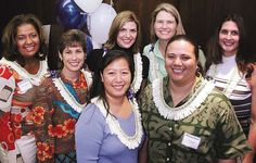 ront row from left,Diana Jessie,Mahina Eleneki,Jaime Paet and Tita Ahuna.Back row: Karrie Trieschman, Suzanne Eagye and Dede Dunstone at the UH Sports Circle of Honor Induction Luncheon on Jan.26, 2005.