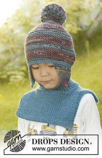 """Knitted DROPS hat in """"Big Fabel"""" and neck warmer in """"Alaska"""". ~ DROPS Design"""