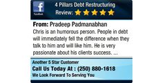 Chris is an humorous person. People in debt will immediately fell the difference when they...