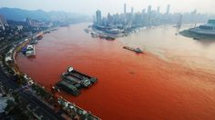 Yangtze River Turns Red and Turns Up a Mystery. A ship sails across the junction of the Yangtze River, left, and the Jialin River, Sept. 2012 in Chongqing, China. End Times Prophecy, Queens, Water Pollution, Plastic Pollution, Save The Planet, Our World, Mother Earth, Climate Change, Around The Worlds