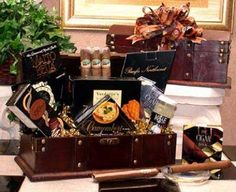 GENTLEMAN'S CIGAR CHEST GIFT BASKET WITH FAVORITE TREAT & SAVORY SNACKS~85061 #AnyOccasion