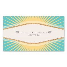 Elegant Fashion Boutique Turquoise Yellow Retro Business Card Template. I love this design! It is available for customization or ready to buy as is. All you need is to add your business info to this template then place the order. It will ship within 24 hours. Just click the image to make your own!