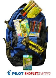 Shoplet.com is giving away a backpack full of Pilot Products! Here's how to win: Follow Shoplet on Pinterest, repin this post, go to the Shoplet Blog before 4/15/13 and tell us which pilot product you are most excited to win. #giveaways