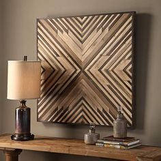 Slats of strong fir and compressed wood are carefully fitted together in the Uttermost Floyd Wooden Wall Art to create an elegant geometric pattern. Wooden Wall Decor, Wooden Art, Wooden Walls, Wall Wood, Pallet Wall Decor, Rustic Wall Art, Diy Wall Art, Hanging Wall Art, Wall Décor