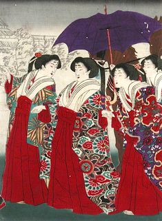 Event of the Year (middle panel), Tsukioka Yoshitoshi, 1875; The Fairbanks Fine Arts Print Collection, Oregon State University. Japanese print art with Japanese women in traditional Japanese dress. via @ArtLookToday on Facebook.