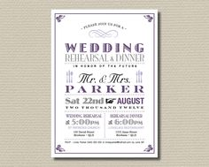 Printable Wedding Rehearsal and Dinner Invitation - Vintage Poster design in Purple & Grey (RD08). $15.00, via Etsy.