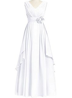 KAMA BRIDAL Women's V-neck Sleeveless Bridesmaid Dress A-line Chiffon Floor-length Prom Dress at Amazon Women's Clothing store: