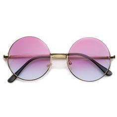 Retro Lennon Inspired Round Multi Color Rainbow Lens Sunglasses 9204 from zeroUV