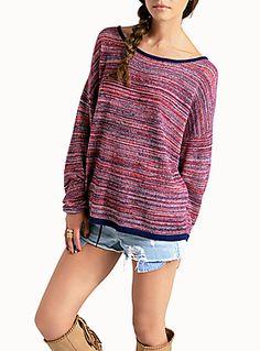 oversized chine crochet sweater