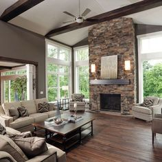 Beautiful Living Rooms With Fireplace 20 beautiful living room decorations | stone fireplaces, black