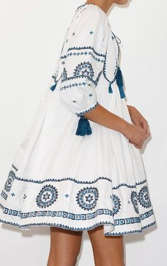 The designer: The wanderlust-inducing brand is created by stylist Kim Hersov and Shon Randhawa.    This season it's all about: A happy marriage between Indian embellishment and Western silhouettes.     The piece to buy: The white cotton caftan with blue embroidery.
