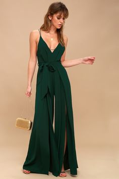Dreams do come true, and the Hype Dream Forest Green Backless Wide-Leg Jumpsuit is proof! Backless jumpsuit with V-neck and slit, wide-leg pants. Formal Jumpsuit, Backless Jumpsuit, White Jumpsuit, Romper Pants, Black Romper, Dress Formal, Pants Outfit, Homecoming Outfits, London Fashion