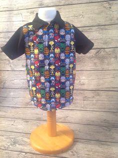 Super hero shirt. Pattern is the Oxford Shirt from Peekaboo.