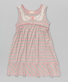 Look at this Pink Vanilla Gray & Pink Stripe A-Line Dress - Toddler & Girls on #zulily today!