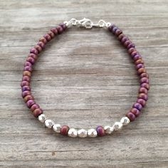 Burgundy and Silver Simple Beaded Bracelet on Etsy, $10.00