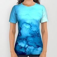 Womens All Over Print Shirts featuring INTO ETERNITY, TURQUOISE Colorful Aqua Blue Watercolor Painting Abstract Art Floral Landscape Nature by EbiEmporium