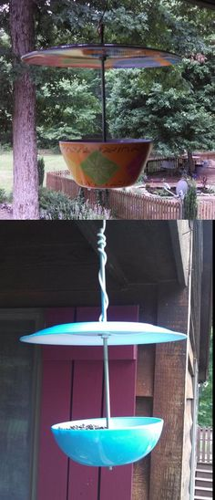 """Bird feeders made from plastic plate and bowl from grocery, 99 cents, 3 nuts and 4 washers I found in the shop, an 8"""" threaded bar for less than $2 from Lowes and 1 wingnut at the top. Inspired by a Pintrest pin that had no instructions for hanging so I used a wing nut on the top of the plate so I could wrap a piece of wire around it."""