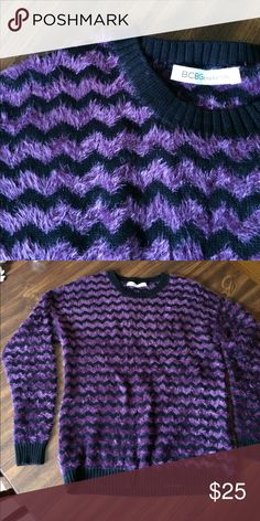 Women's fuzzy  sweater top Fuzzy purple sweater...get your purp on 💜 BCBGeneration Sweaters Cardigans