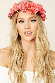 Forever 21 is the authority on fashion & the go-to retailer for the latest trends, styles & the hottest deals. Flower Headband Hairstyles, Flower Crown Headband, Head Wrap Headband, Flower Crown Wedding, Crown Hairstyles, Wedding Hairstyles, Flower Crowns, Wedding Flowers, Fairy Photoshoot