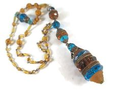 Vintage Antique Art Deco Czech Blue Amber Glass Bead Sautoir Necklace
