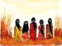 Native American Girls Giclee Print Southwest Watercolor Painting Wall Decor 8 x 10 Digital Print