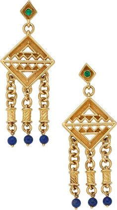 Estate Jewelry:Earrings, Emerald, Lapis Lazuli, Gold Earrings. ... (Total: 2 Items)