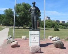 The General Douglas MacArthur sculpture majestically stands at Veterans' Park on the lake front in Milwaukee, Wisconsin. The sculpture, designed by American artist Robert Dean, is a standing, full-figure portrait of General of the Army Douglas MacArthur, wearing a hat. His hands are in his back pants pockets. It is a must see when visiting Milwaukee.