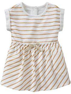 Glitter Stripe Terry Dresses for Baby