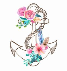Doodle Anchor with watercolor flowers and feather on VectorStock