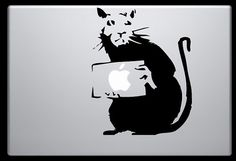 Banksy style laptop decal