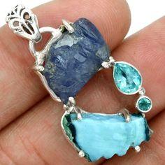 Larimar-Dominican-Republic-Slice-925-Silver-Pendant-Jewelry-SP122754