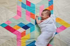 star quilt... and bonus adorable baby.