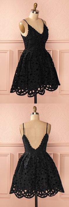 fashion, women's fashion, chic a-line party dresses, simple lace homecoming dresses, cute black homecoming dresses