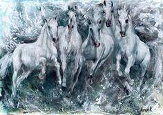 "Daily Paintworks - ""White Horses Study (No 2)"" - Original Fine Art for Sale - © Karen Robinson"