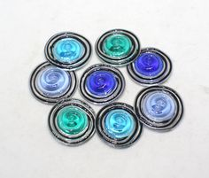 Set of 8 Spiral Disc Beads  21 mm  Teal Green Blue