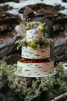 Rustic wood-themed wedding cake   Yulia Ostroschenko Photography   see more on: http://burnettsboards.com/2015/06/mountain-elopement-morning-shoot/
