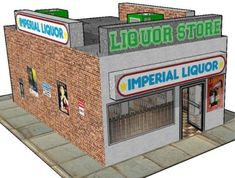 Liquor Store for Diorama, RPG and Wargame Building Paper Model