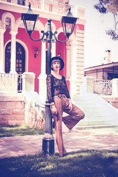 ''Castor'' trousers with ''Canopus'' cropped top by nidodileda clothing #clothing #nidodileda #boho #bohemian #lace #castor #constellation