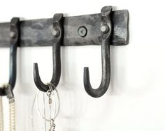 Small rack of hooks for necklaces or keys.  Modern, urban design by RandRHandmade.  Great bridesmaids gift.  Contact us to explore personalizing. $35.00