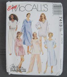 Easy McCalls 7413 Nightshirt, Pajama Top in 2 lengths Pants Shorts L XL Uncut  #McCalls