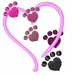 Get this cute dog paws and heart embroidery design by Concord Collections!