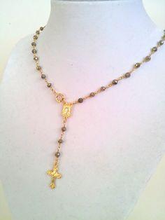 Pirita oro Rosario lleno collar Crucifijo Cruz colgante para
