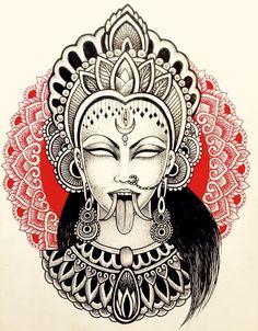 Custom tattoos by Lady Pain (Ona Cots). Kali Tattoo, Goa Tattoo, Shiva Tattoo Design, Nepal Tattoo, Lotus Tattoo, Tattoo Ink, Hindu Tattoos, Buddha Tattoos, Arm Tattoos
