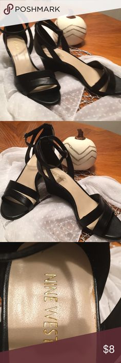 "Nine West shoes Ladies size 9 black 2"" wedge ankle strap shoes. Worn once in perfect condition. Nine West Shoes Wedges"