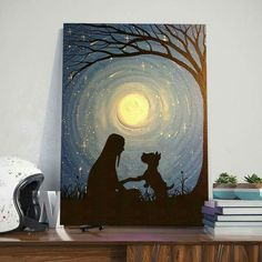 Tuval - Everything About Painting Dog Canvas Painting, Cute Canvas Paintings, Unique Paintings, Gouache Painting, Animal Paintings, Canvas Art, Oil Pastel Drawings, Art Drawings, Silhouette Painting