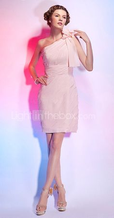 Sheath/Column One Shoulder Short/Mini Chiffon Cocktail Dress