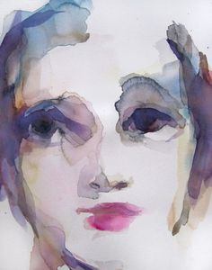 """Melancholy"" - watercolor by French artist Sylvia Baldeva."