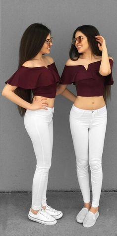 Like if you think this is amazing ! Like if you think this is amazing ! Matching Sister Outfits, Twin Outfits, Outfits For Teens, Cute Outfits, Fashion Now, Girl Fashion, Fashion Outfits, Best Friend Outfits, Stylish Girl Pic