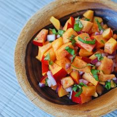 This nectarine salsa is made with fresh basil for a delicious, easy, and healthy addition to any meal.